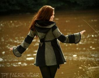 2 tone Fleece Short Tournedot Jacket(length 3).6 stripe positively pixie hood/6 stripe sidhe sleeves