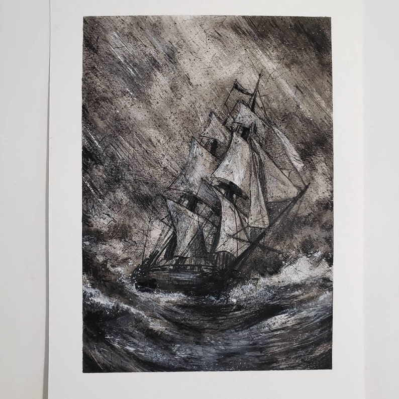 USS Constitution boat storm rain gothic dark fantasy ship Old Ironsides- Art PRINT Ghost Ship Original Watercolor Illustration Artwork