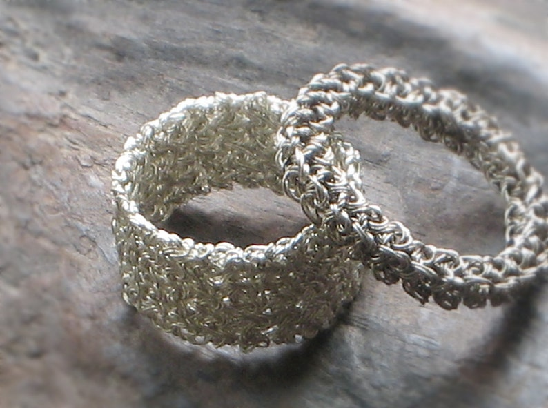 Statement Ring\u2014Custom Size Oxidation Bague d/'Argent Crochet UNISEX WEDDING BAND Sterling Silver Crochet Wire\u2014Large Engagement Anniversary