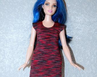 Dress fits Curvy Barbie fashionista fashion doll clothes Red-Black Stripe A4B186