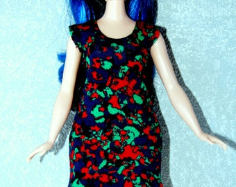 Dress fits Curvy Barbie fashionista fashion doll clothes blue-green-red marble print A4B190