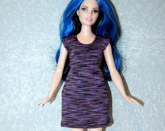 Dress fits Curvy Barbie fashionista fashion doll clothes Purple Stripe A4B185
