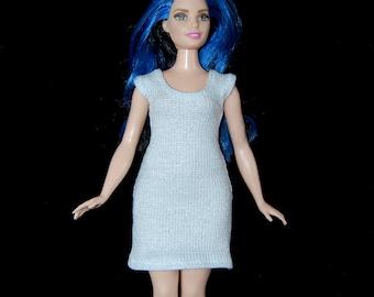 Dress fits Curvy Barbie fashionista fashion doll clothes Silvery White Sparkle A4B196 Ready to ship rts