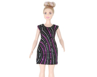 Dress fits Curvy Barbie fashionista fashion doll clothes Black with pink-silver glitter sparkles A4B277 Ready to ship rts