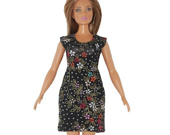 Dress fits Curvy Barbie fashionista fashion doll clothes Black gold flowers A4B300 Ready to ship rts