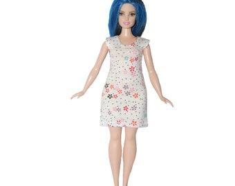 Dress fits Curvy Barbie fashionista fashion doll clothes Ivory gold flowers A4B319 Ready to ship rts