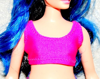 TOP ~ BARBIE DOLL MADE TO MOVE YELLOW PINK BLUE BRIGHT YOGA SHIRT CLOTHING