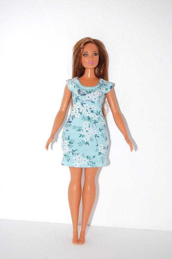 Dress made for Curvy Barbie Fashionista Doll Clothes TKCT Minty green short