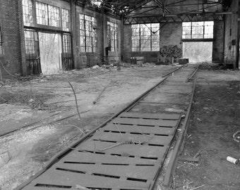 Abandoned Train Yard Black and White Photograph 8x10 photo