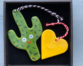 Cactus and heart decorations.Ceramic Cactus/heart .Ceramic Decoration/ornament.Kitsch gift.Porcelain tree decorations