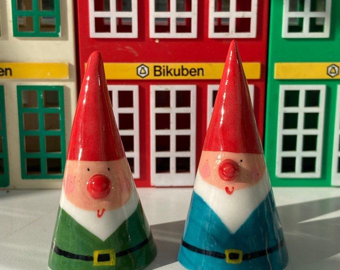 Featured listing image: Ceramic Garden Gnome Decoration.Medium size Porcelain Gnome figure.Quirky gift.Handmade ceramics.Fairy Garden theme.