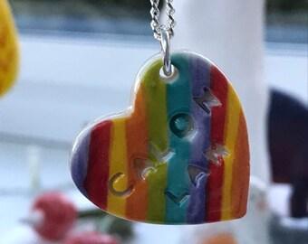 Custom order for Amy Calon Lan Ceramic Heart Pendant.Calon Lan.Welsh Love Heart Necklace .Porcelain Heart Pendant.