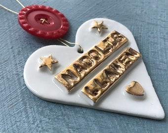 Nadolig Llawen Heart Welsh Hanging Decoration.Christmas tree decorations/ornament.Porcelain Heart.Stocking Filler.Gold Lustre.Welsh language
