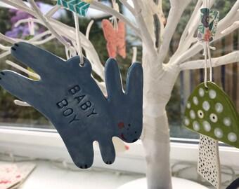Blue Baby Rabbit Decoration/Hanging Porcelain Rabbit/Ceramic Decoration/ornament.Christening Gift/Baby Boy/Nursery Decoration