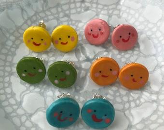 Rainbow Smiley stud earrings.Sterling silver earrings.Bright circular green,pink,yellow,orange & blue smiley studs.Handmade in Wales,UK.