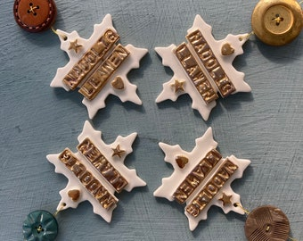 Nadolig Llawen.Welsh Snowflake Decoration.Gold lustre.Snowflake.Porcelain Christmas tree decorations/ornament.Welsh Language