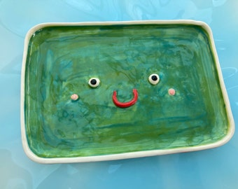 Face Ceramic Trinket Dish.Porcelain Pea Dish.Rectangular ceramic/pottery dish.Handmade ceramic dish.Quirky gift