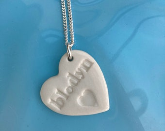 Blodyn Ceramic Heart Pendant.Blodyn/Flower.Welsh Love Heart Necklace .Porcelain Heart Pendant.Gift idea Handmade .Made in Wales,Uk.