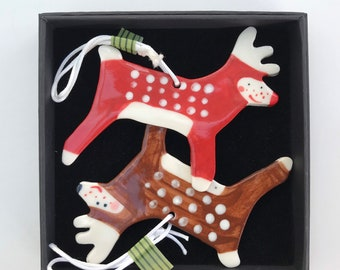 Reindeers Hanging Porcelain Decorations/ornament/2 Rudolph Reindeer Christmas decorations.2 Ceramic Reindeer tree decorations.Handmade