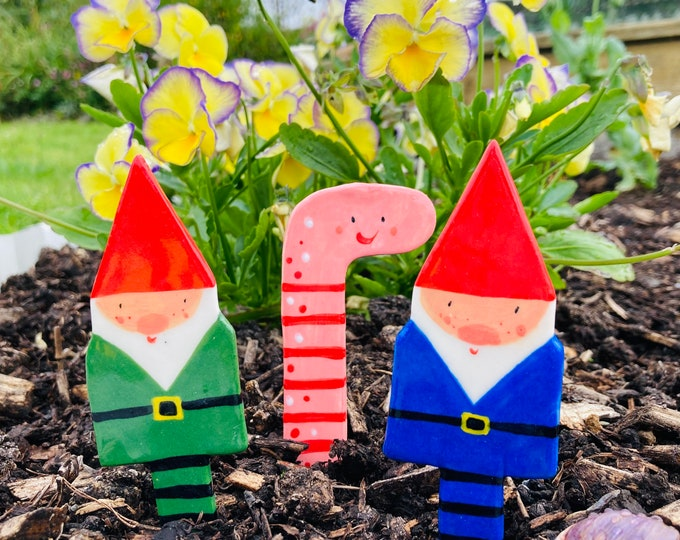 Featured listing image: Garden Gnomes and Earth Worm Plant Markers set. 3 fun Ceramic plant stakes.Gift for gardener/plant lover. Seed Tags.House warming gift.