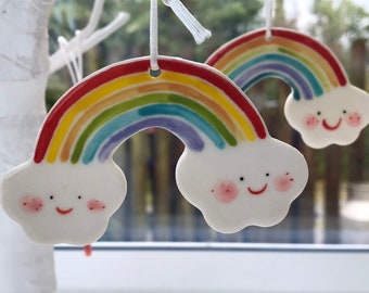 Rainbow Cloud Ceramic Decoration/Porcelain Hanging ornament.Baby gift.Porcelain Rainbow Decoration.Pastel Rainbow.Made in Wales,Uk