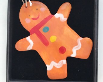 Large Gingerbread Man Decoration.Hanging Ceramic Gingerbread Man.Tree Decoration .Christmas Porcelain ornament/Made in Wales