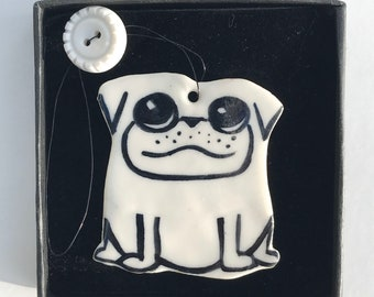 PUG porcelain decoration.PUG DOG Decoration.Ceramic animal Ornament in a Gift box.Handmade in Wales,uk