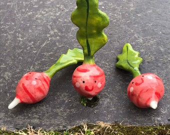 Ceramic Radish Ornament .Mini Porcelain Radish figure.Cute vegetable ornament. Handmade in Wales ,Uk