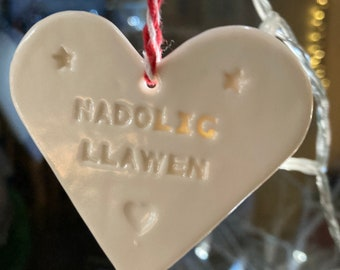 Nadolig Llawen Heart Welsh Hanging Decoration.Christmas tree decorations/ornament.Stocking Filler.Hand painted.Welsh language Happy Christma
