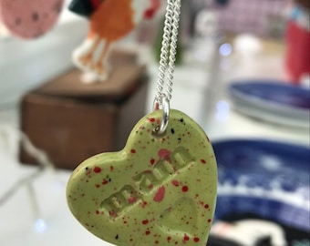 Mam Ceramic Heart Pendant.Welsh Love Heart Necklace .Green/pink Porcelain Heart Pendant .mam/mum.Gift idea Handmade .Made in Wales,Uk.