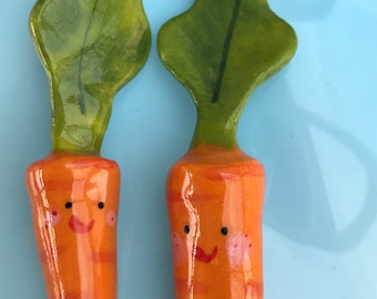 Two Ceramic Baby Carrot Ornaments.Mini porcelain smiley Carrot figures.Cute vegetable decorations.Desktop gift.Handmade in Wales