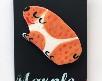 Guinea pig Brooch/pin/button/badge.Animal jewellery .Ceramic/porcelain.Handmade in Wales,Uk