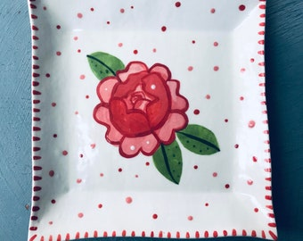 Rose ceramic Dish.Square Trinket Dish.Porcelain trinket Flower Dish.Hand painted Pink flower dish.Handmade ceramic gift.