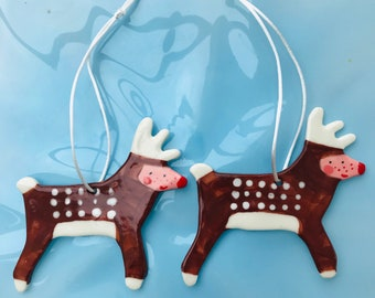 Reindeers Hanging Porcelain Decorations/ornament/2 Rudolph Reindeer Christmas decorations.2 Ceramic Reindeer tree decorations.Handmade