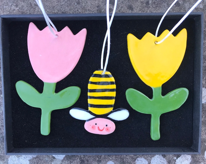 Featured listing image: Bee ,Pink and Yellow Tulip Decoration Set.Flower/Hanging Ceramic Tulips and Bee Decorations/ornaments.Summer gift.
