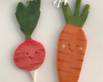 Carrot and Radish Decoration set.Ceramic Carrot and radish.Tree Decoration.Porcelain Ornament.Vegetable decoration set.