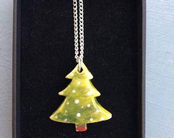 Christmas tree Ceramic Pendant Christmas Jewellery .Porcelain tree pendant .Sapin de Noel.Stocking filler.Christmas Gift idea.