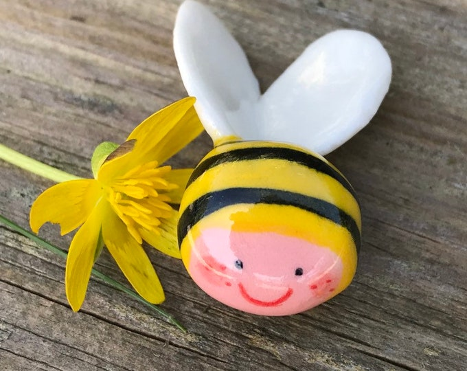 Featured listing image: Ceramic Bumble bee.Mini Porcelain Bee figure .Cute little bee .Handmade in Wales ,Uk