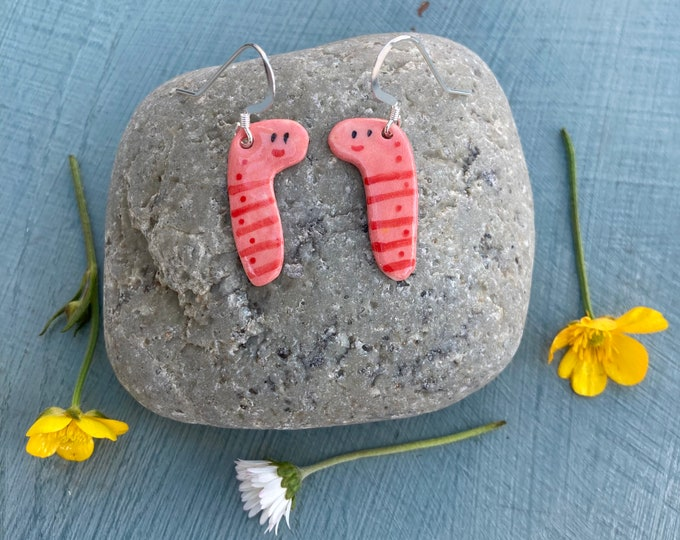 Featured listing image: Earth worm  Earrings.Ceramic worms Sterling Silver earrings.Handmade porcelain .Cute gift .Fun quirky gift for friends or girlfriend.