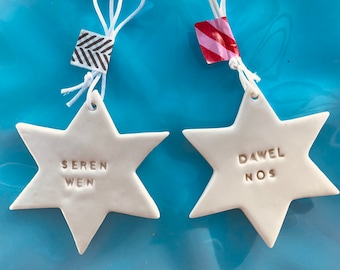 Welsh Star Decorations.Seren Wen /Dawel Nos.Christmas tree decorations/ornament.Stocking Filler.Hand painted.Welsh Language.Handmade Wales