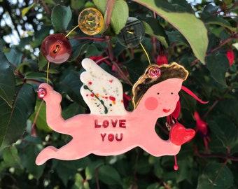 Love Cherub Decoration.Hanging Ceramic Valentines Decoration.Romantic Gift.Gift for wife/husband.Gold Lustre.Handmade in uk
