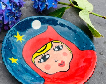 Little Red Riding Hood/Hanging Porcelain Plate /Ceramic Wall Decoration/ornament.Fairytale plate.Handmade ceramic gift