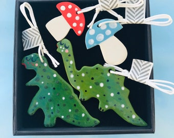 Dinosaur hanging Ornament gift set .Ceramic/porcelain dinosaur and toadstool decorations.Gift for boy.Handmade in Wales ,Uk
