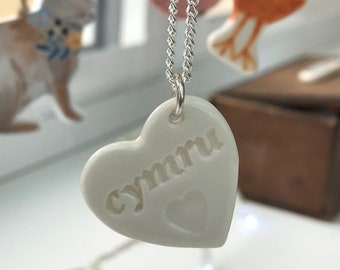 Cymru Ceramic Heart Pendant.Cymru/Wales.Welsh Love Heart Necklace .Porcelain Heart Pendant.Gift idea Handmade in Wales,Uk