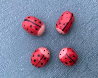4 mini Ceramic ladybird figures.Small porcelain ladybirds desktop ornaments.Ladybird/ladybug.Handmade Porcelain mini ornaments.