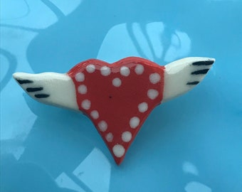Ceramic Heart Brooch.Winged Love Heart Brooch/pin/button/badge.Ceramic/Porcelain .Valentines heart.Handmade in Wales ,Uk