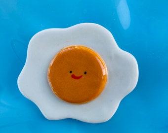Porcelain Fried Egg.Ceramic happy Fried Egg.Fun Fried Egg Figurine.Cute gift .Handmade in Wales ,Uk