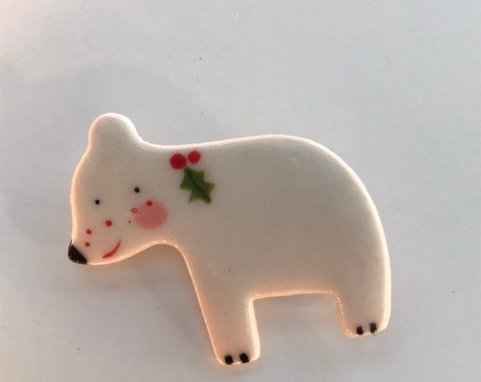Featured listing image: Polar Bear Brooch/pin/button/badge.Christmas Badge l/stocking filler .Gift/Ceramic /Porcelain.Christmas jewellery /animal jewellery.Handmade