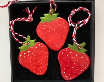 Strawberry Decoration set.Healthy decorations.Porcelain fruit Ornaments/decoration set.Ceramic Hanging Decor