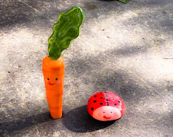 Ceramic Carrot and Ladybird Ornament .Mini porcelain Carrot figure with face and Ladybug.Cute vegetable/insect figures.Handmade in Wales